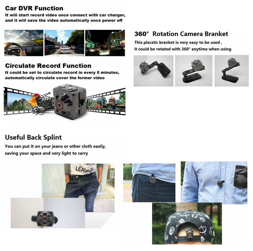 SQ8 Mini Car Video Recorder HD Sports DV Camera 1080P Night Vision Car DVR Loop-cycle Recording Motion Detection - Black