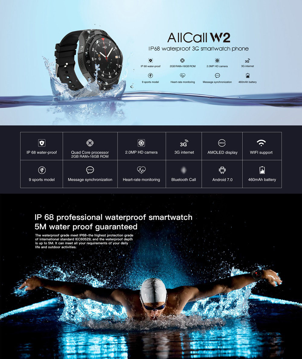 ALLCALL W2 3G Smartwatch Phone Android 7.0 MTK6580 Quad Core Heart Rate Monitor IP68 Water Resistant  2GB RAM 16GB ROM  - Dark Gray