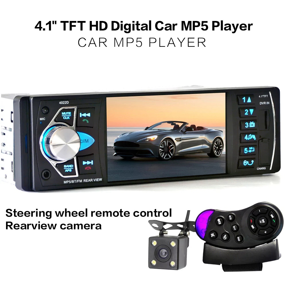 4.1inch Touch Screen Car MP5 Player Bluetooth USB Radio Multimedia Audio Video