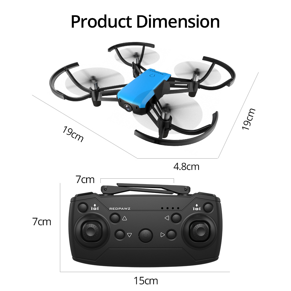 REDPAWZ R020 BLAST RC Quadcopter WIFI FPV 8520 Brushed Motor with HD 720P Wide-angle Camera Altitude Hold RTF - Blue