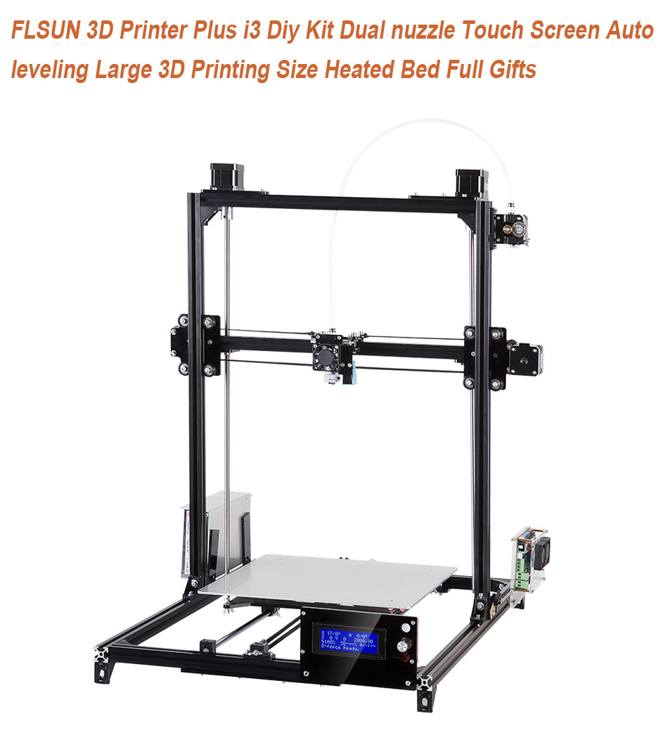 [HK Stock] FLSUN 3D Printer Plus i3 DIY Kit Auto leveling 3D Printing Size 300X300X420 Heated Bed Full Gifts