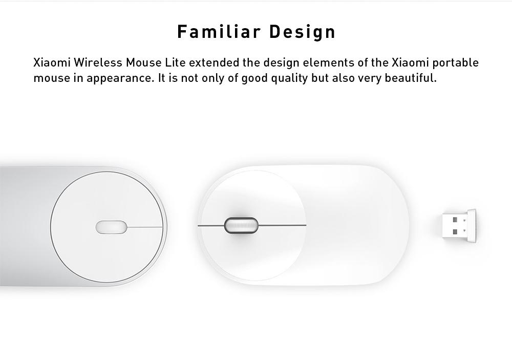 Xiaomi Wireless Mouse Lite 1200DPI Чувство руки Эргономичный дизайн Удобный легкий - черный