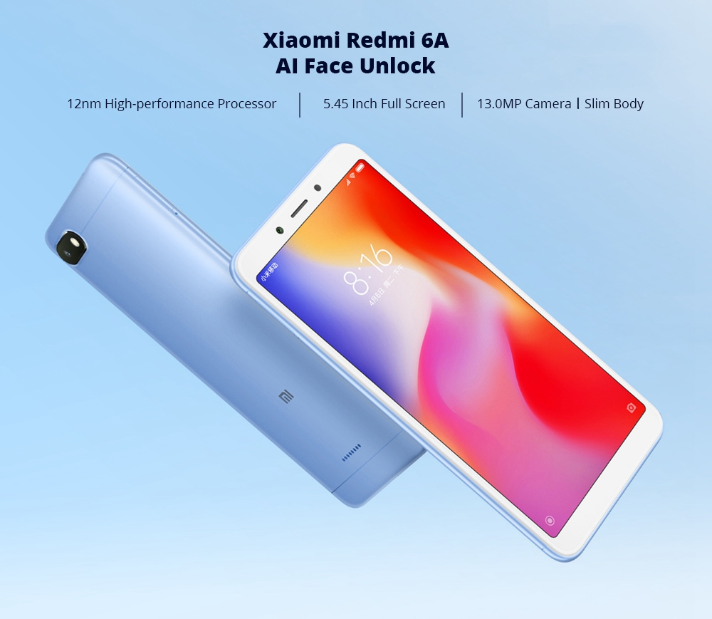 Xiaomi Redmi 6A 5.45 Inch 4G LTE Smartphone MTK Helio A22 2GB 16GB 13.0MP Camera MIUI 9 OS 18:9 Screen AI Face Unlock - Pink