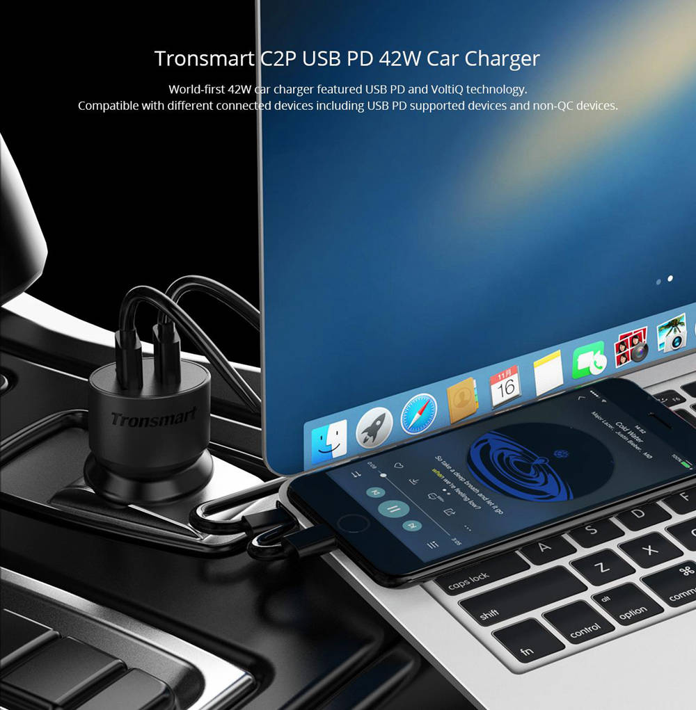 Tronsmart C2P 42W USB C 2 Port Car Charger with Power Delivery for Google PixelPixel XLMacBoo iPad Pro