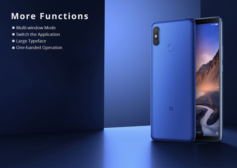 Xiaomi Mi Max 3 6.9 Inch 4G LTE Smartphone Snapdragon 636 6GB 128GB 12.0MP+5.0MP Dual Rear Cameras Android 8.1 5500mAh Type-C OTG Touch ID - Blue