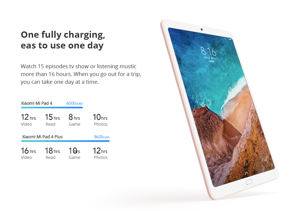 Xiaomi Mi Pad 4 Plus WiFi + 4G LTE 10.1 pulgadas 1920 * 1200 16:10 Pantalla FHD Qualcomm Snapdragon 660 4GB + 64GB 13MP Cámara trasera 8620mAh MIUI 9 - Negro