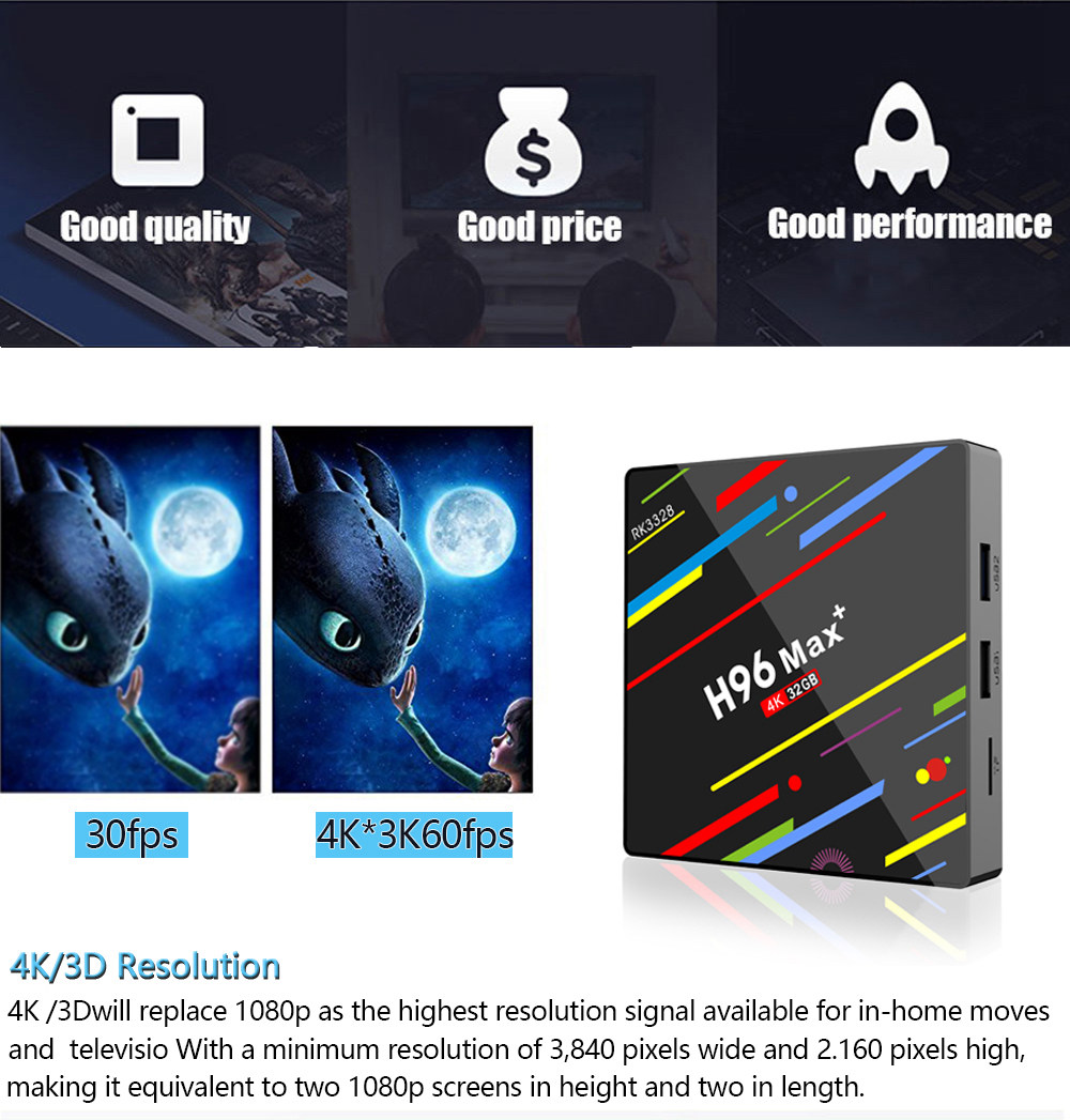 H96 MAX+ RK3328 Android 8.1 4GB/32GB KODI 17.6 TV BOX WiFi LAN USB3.0