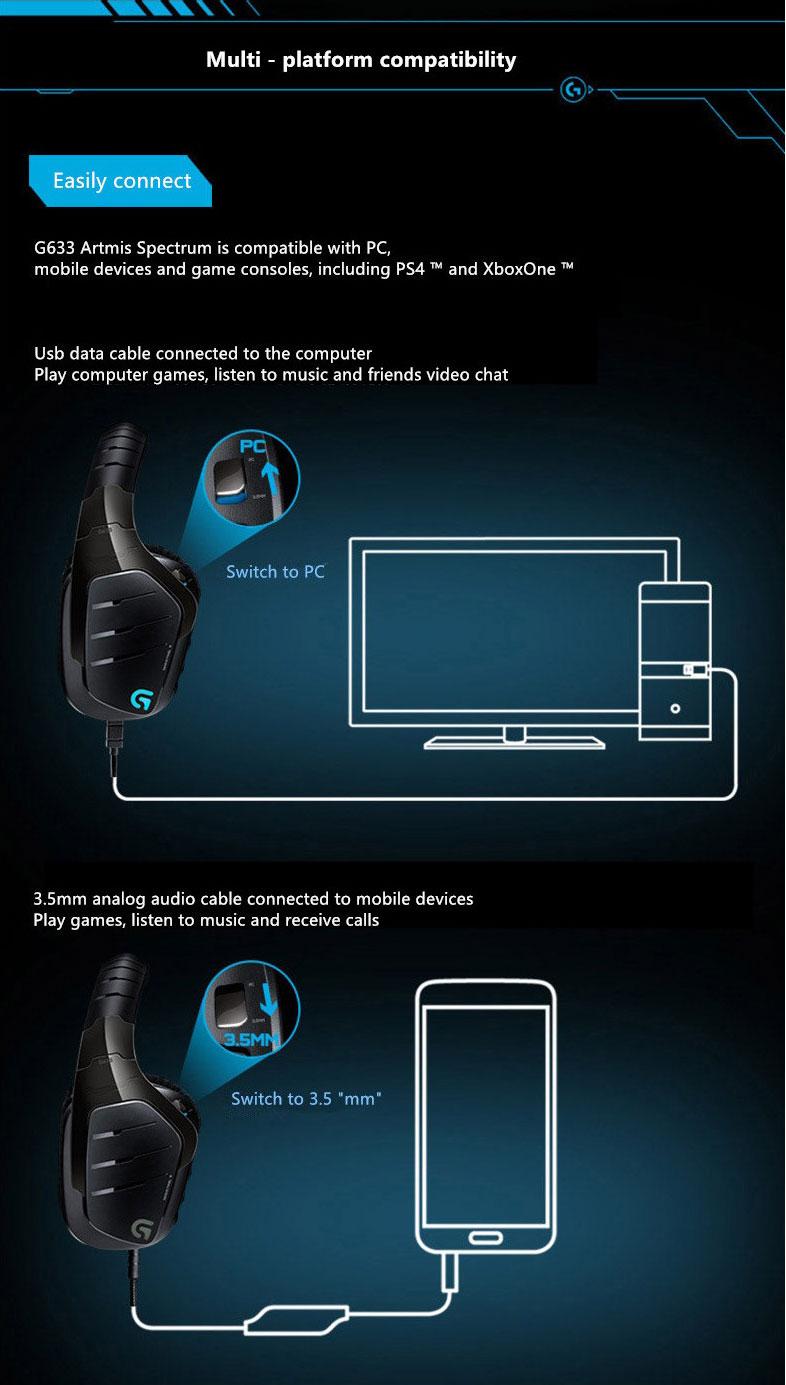 Logitech G633 Artemis Spectrum Gaming Headphones Headset Black