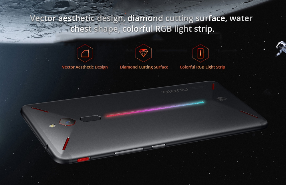 Nubia Red Magic NX609J Global Version 6.0 Inch FHD+ Screen 4G LTE Gaming Smartphone 8GB 128GB 24.0MP Snapdragon 835 Android 8.1 Type-C Touch ID OTG
