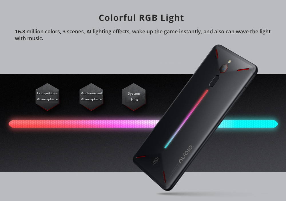 Nubia Red Magic 6.0 Inch FHD Screen 4G LTE Gaming Smartphone Snapdragon 835 6GB 64GB 24.0MP Camera Android 8.1 OS Type-C Touch ID OTG - Black