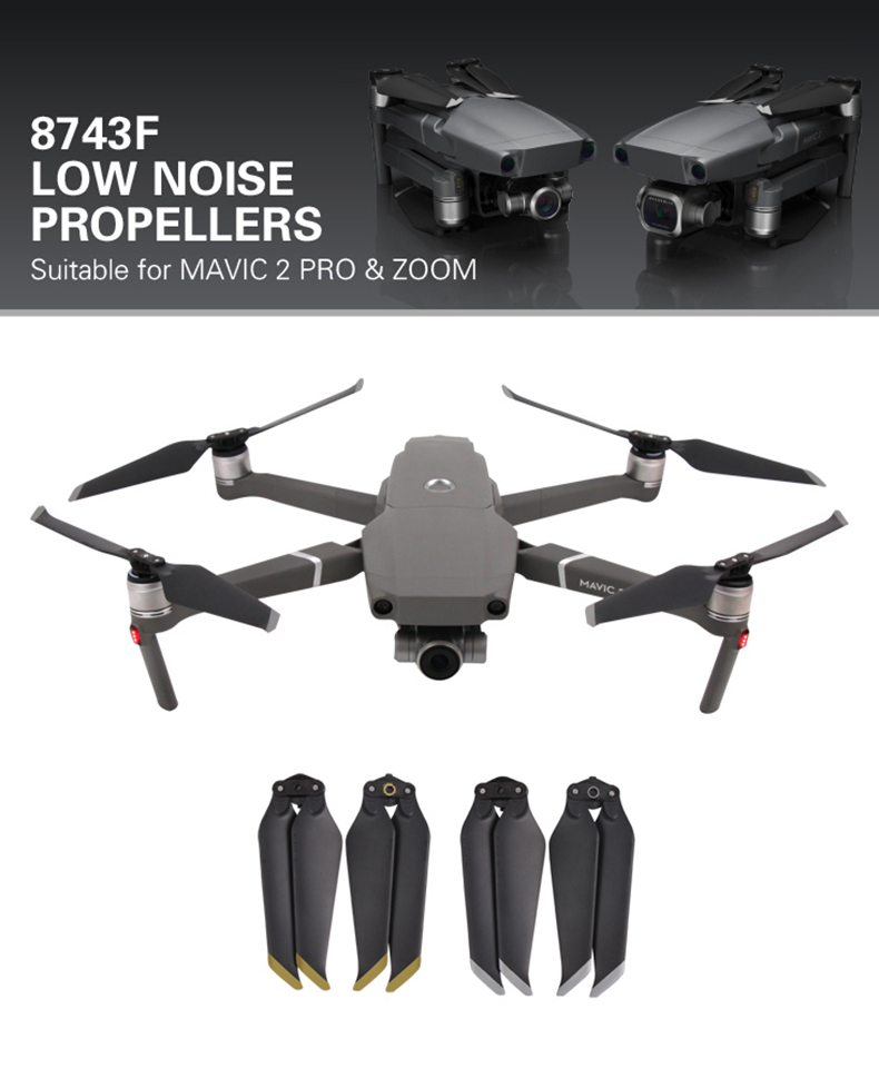 Sunnylife 2Pair CW CCW Low Noise Proprllers for DJI Mavic 2 Pro/Zoom RC Drone - Gold