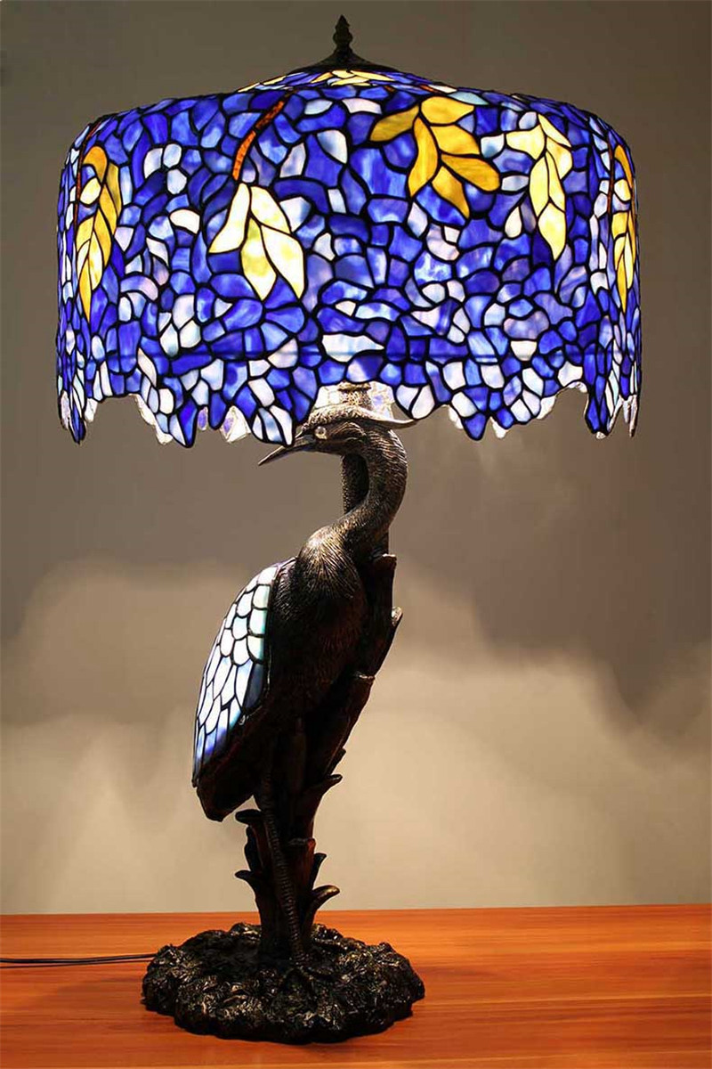 Fumat Tiffany Lamp European Clic Stained Gl Bird Resin Table Luxury Desk For Living Room Bedroom Multi Color