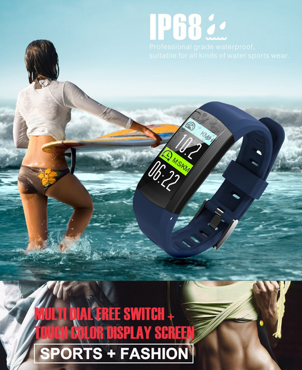 Makibes G04 Smart Bracelet 0.96 Inch TFT Color Screen IP68 Waterproof Built-in GPS Heart Rate Monitor Sports Fitness Tracker - Red