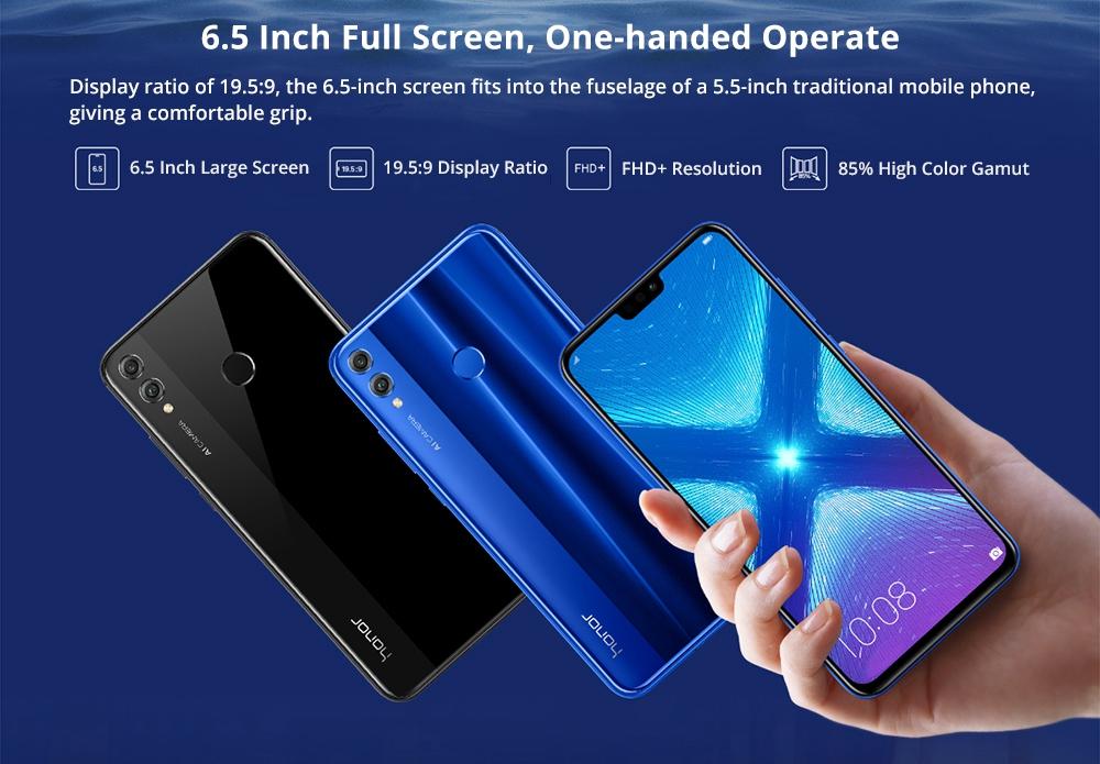 HUAWEI Honor 8X 6.5 Inch FHD+ Full Screen 4G LTE Smartphone Kirin 710 6GB 64GB Dual 20MP Rear Cameras Android 8.1 Touch ID - Blue