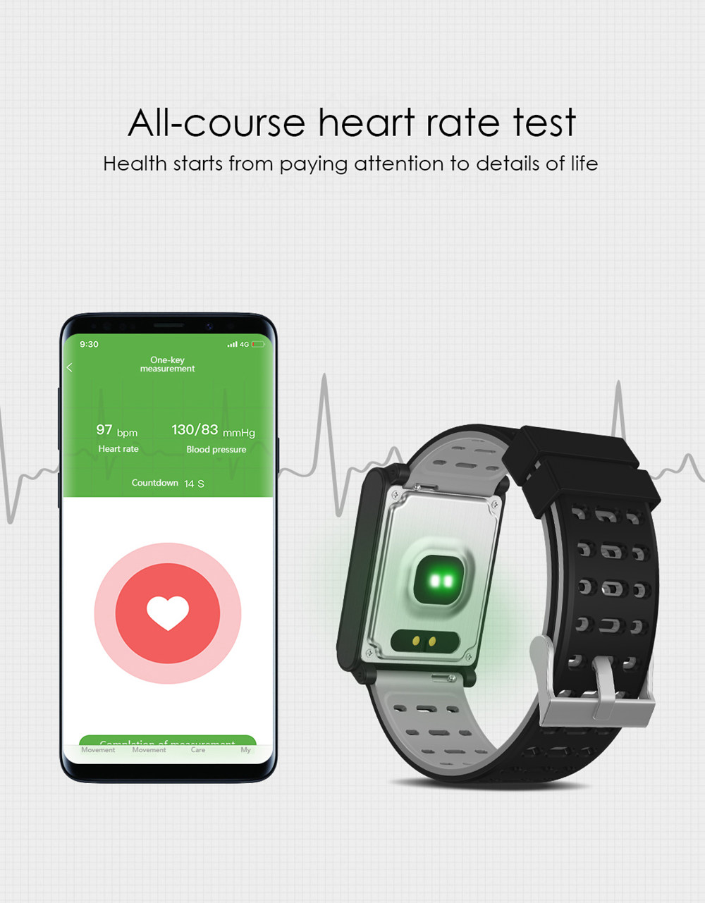 Makibes CK02 Smartwatch 1.3 Inch TFT Screen Fitness Tracker Blood Pressure Heart Rate Monitor IP67 Waterproof - Silver
