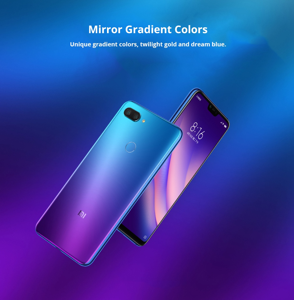 Xiaomi Mi 8 Lite 6.26 Inch 4G LTE Smartphone Snapdragon 660 6GB 128GB 12.0MP+5.0MP Dual Rear Cameras MIUI 9 Touch ID Type-C Fast Charge English and Chinese Version - Deep Space Gray