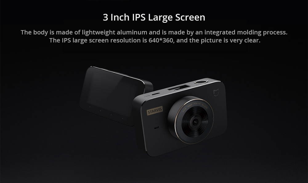 Xiaomi Mijia Car DVR Camera 1S SONY IMX307 Sensor 3 Inch IPS Screen 1080P 140 Degree Wide 3D Noise Reduction Intelligent Voice Control - Black