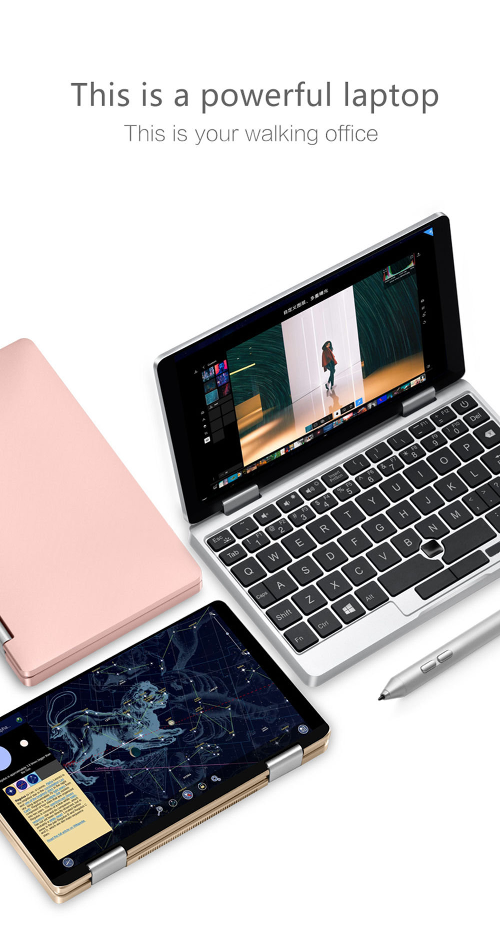 "One Netbook One Mix 2S Yoga Pocket Laptop Intel Core M3-8100Y Dual Core Touch ID 7"" IPS Screen 1920*1200 Windows 10 8GB DDR3 256GB PCI-E SSD - Silver"
