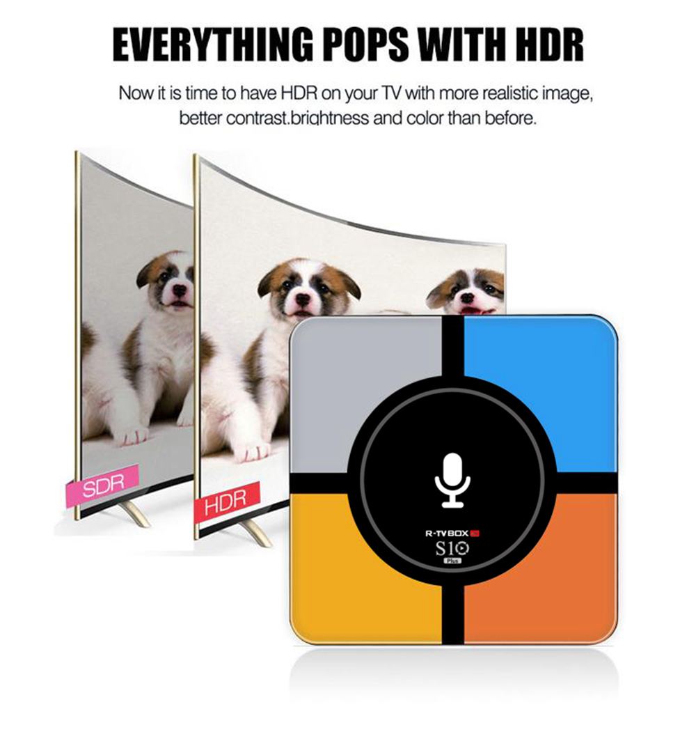 R-TV BOX S10 PLUS Android TV 7.1 RK3328 4GB/32GB KODI 18.0 4K TV Box Wireless Charger WiFi LAN