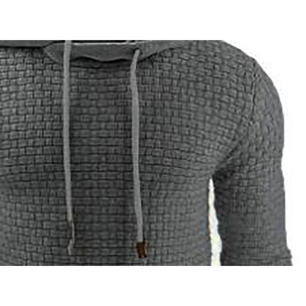 Herren, Basic, Winter warmer, langärmliger Grid Hoodie (Sweatshirt Outwear Sweater, Größe 39XL) Dunkelgrau