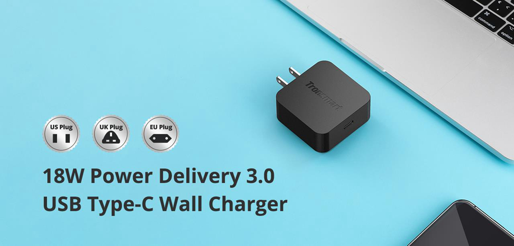 Tronsmart WCP01 18W USB Wall Charger Power Delivery 3.0 Type-C for iPhone Samsung Google LG HTC ETC - UK Plug
