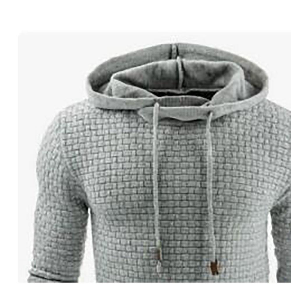 Herren, Basic, Winter warmer, langärmliger Grid Hoodie (Sweatshirt Outwear Sweater, Größe 39XL) Hellgrau