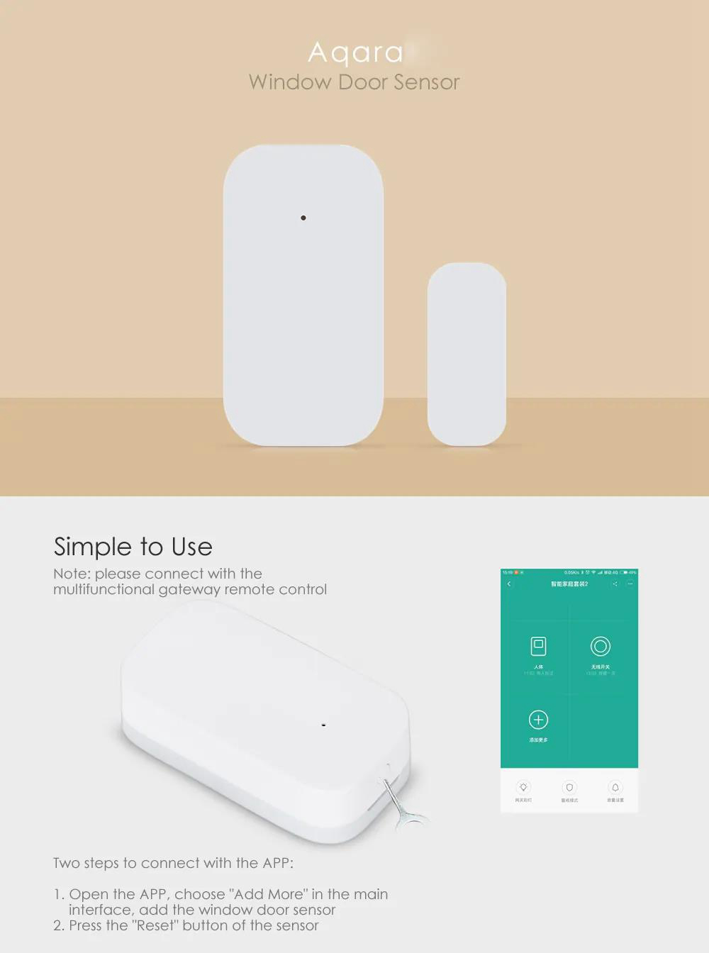 Xiaomi Aqara Smart Window Door Sensor Home Security Equipment (Need to Work together with Aqara Gateway) - White