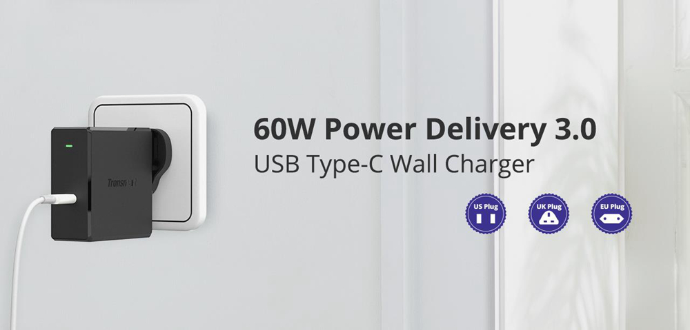 Tronsmart WCP02 60W USB C Wall Charger with Power Delivery 3.0 for MacBook Air/iPad Pro 2018, iPhone XS/Max/XR - UK