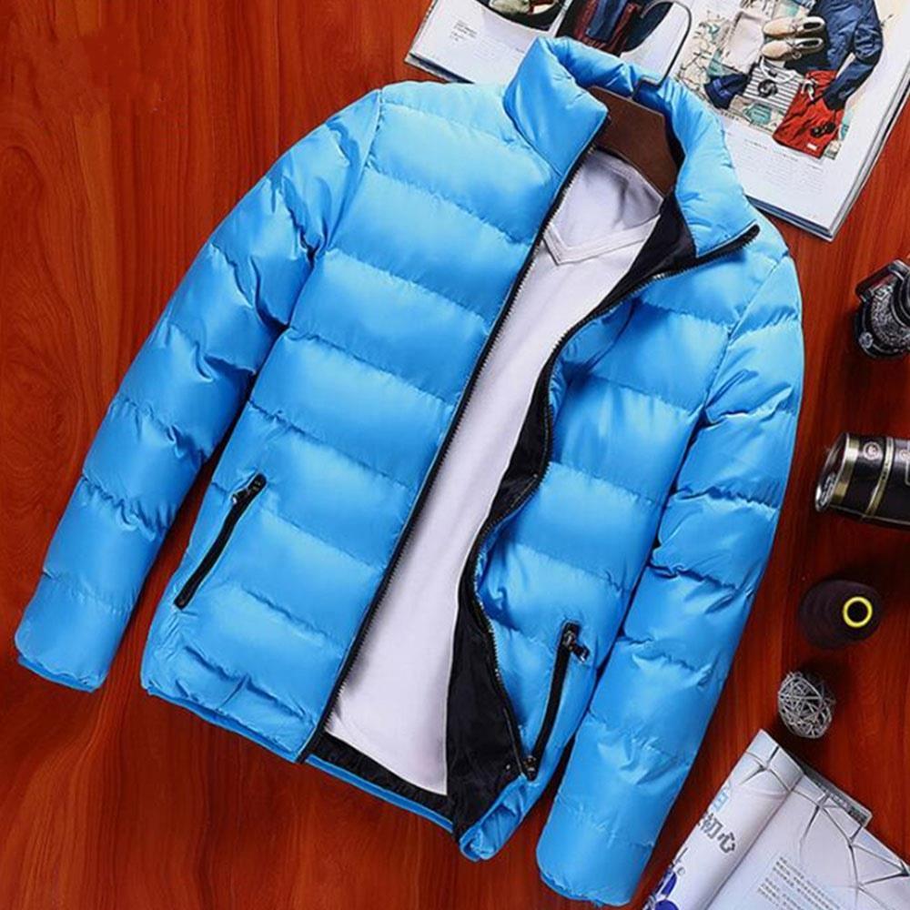 Herren, Herbst und Winter, Basic, Lässige, dicke Baumwoll Daunenjacke (Stehkragen, warmer Mantel, Größe 39XL) Hellblau