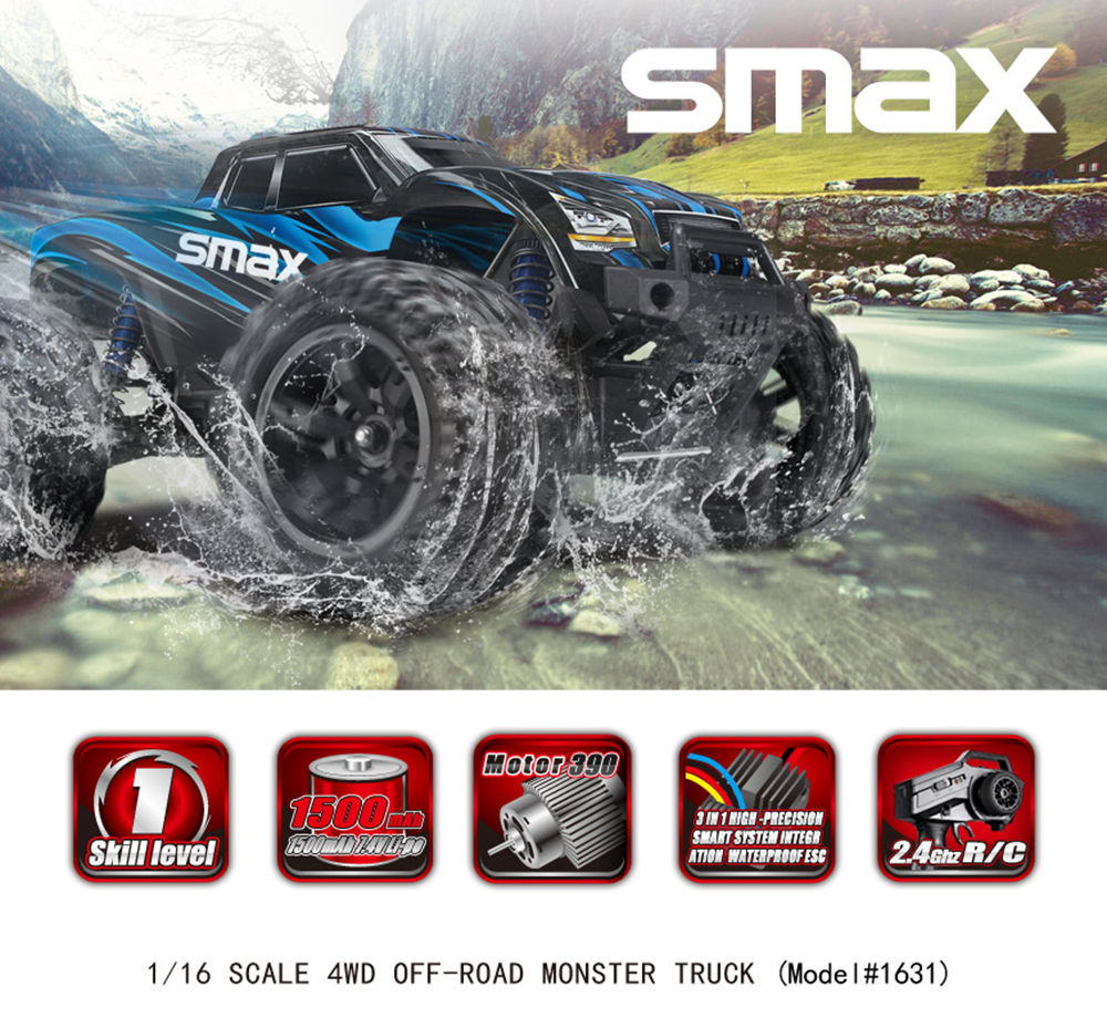 Remo Hobby 1631 SMAX 2.4G 1:16 4WD Brushed Off-road RC Car Monster Truck RTR - Red