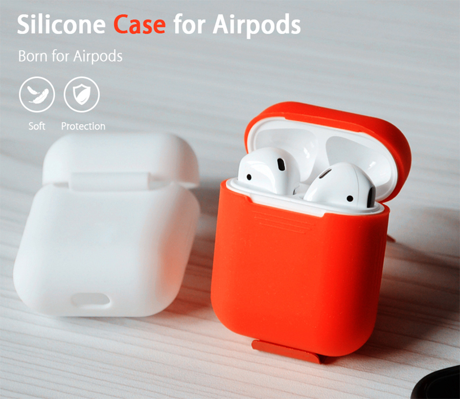 Silicon Case For Apple AirPods Portable Shock Proof Protective Cover For Headphones - White