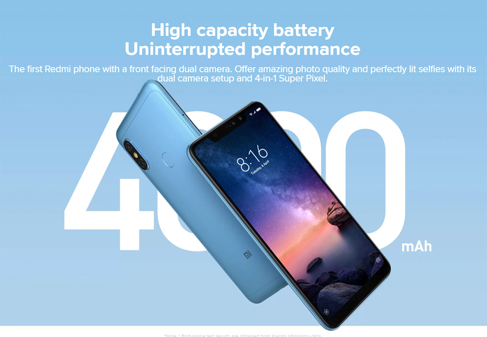 [Spain Stock][Official Global Version]Xiaomi Redmi Note 6 Pro 6.26 Inch 4G LTE Smartphone Snapdragon 636 4GB 64GB 12.0MP + 5.0MP Dual Rear Cameras MIUI 9 Face ID FHD+ Screen - Black
