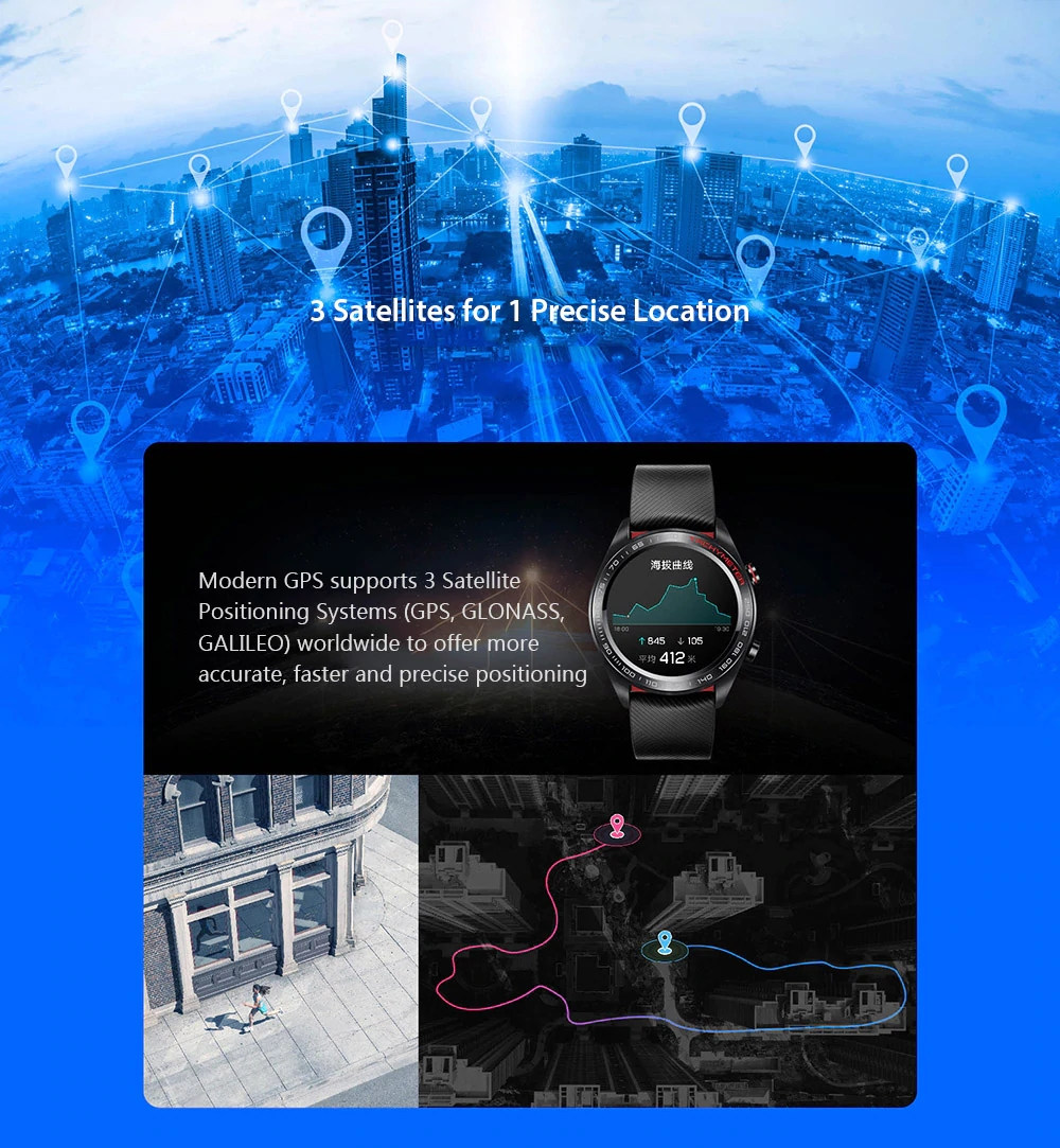 Huawei Honor Magic Smart Watch1.2 Inch AMOLED Color Screen Built-in GPS NFC Payment Heart Rate Monitor 5ATM Waterproof - Black