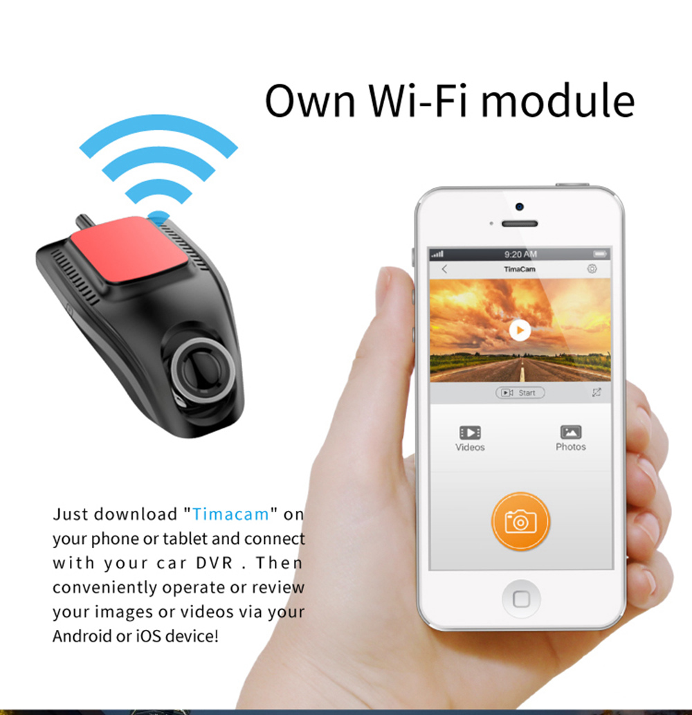 RS503 Car Matching Hidden Universal Wifi Car DVR (2.0 Inch LCD Display 1080P HD 170 Degree Wide Angle Lens Built-in Wi-Fi Module) - Black