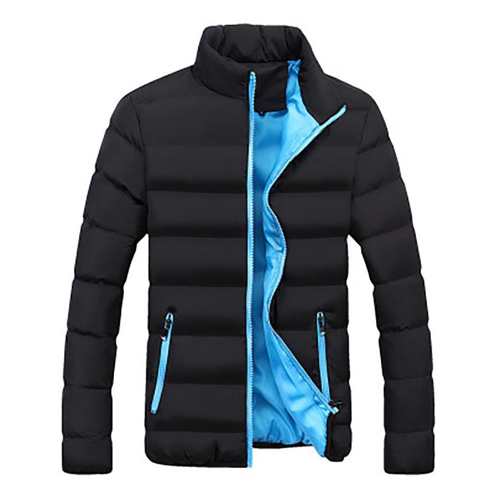 Herren Herbst und Winter Basic Casual Dicker Baumwolle Daunenjacke (Stehkragen Warm Coat Größe 39XL) Schwarz + Blau