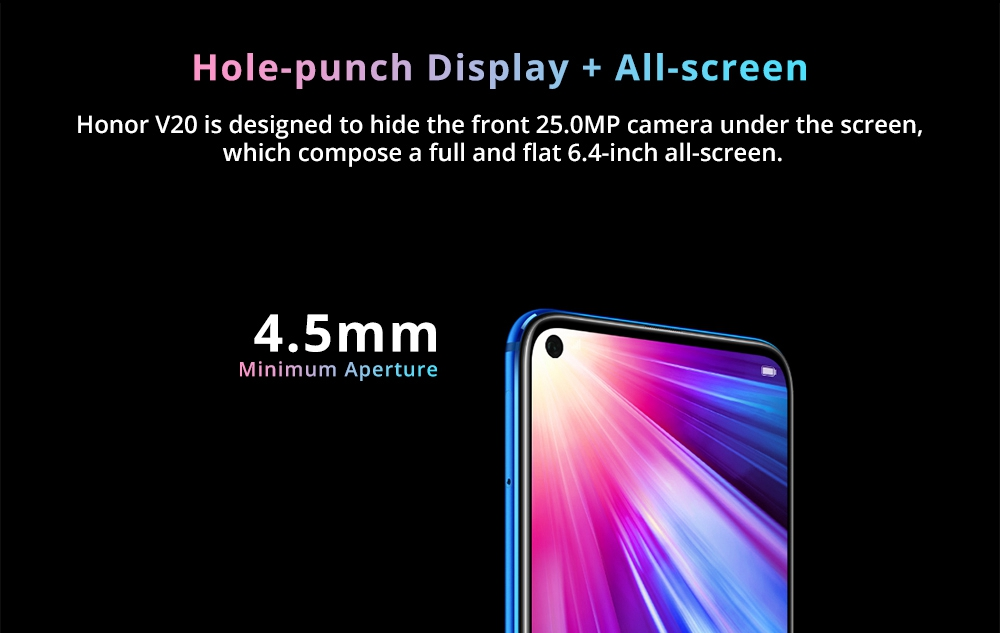 HUAWEI Honor V20 Hole-punch Display 6.4 Inch 4G LTE Smartphone Kirin 980 8GB 128GB 48.0MP+TOF Dual Rear Cameras Android 9.0 NFC Type-C Fast Charge - Blue