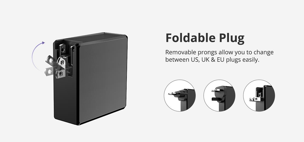 Tronsmart WCP03 57W USB-C Wall Charger with 45W Power Delivery 3.0 12W VoltiQ Foldable Plug for MacBook iPhone - UK Plug