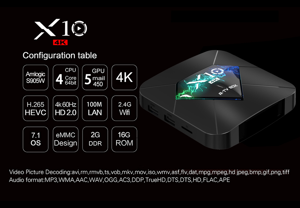 R-TV BOX X10 Amlogic S905W 2GB/16GB 4K Android TV Box WiFi LAN