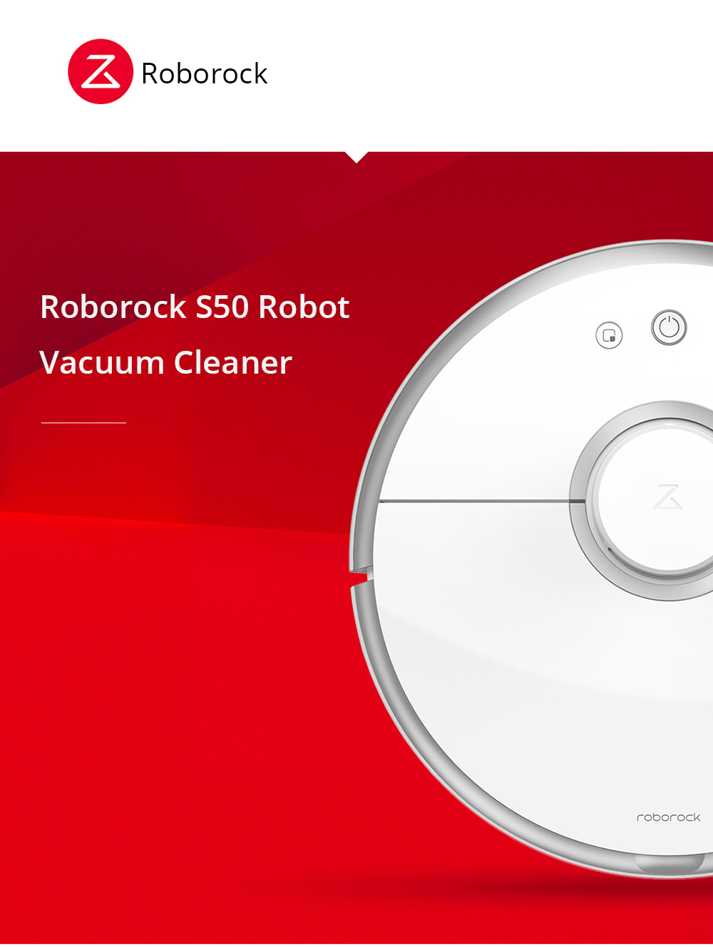 [Package A]Roborock S50 Robot Vacuum Cleaner 2 International Version + 2 x  Side Brushes + 2 x Cleaner Filter + 1 x Rolling Brush + 1 x Virtual Wall
