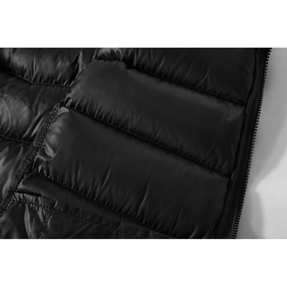 722 Férfi Téli Vastag Szilárdszínű Pamut Mellény Női ujjatlan kabát méret 2XL Fekete