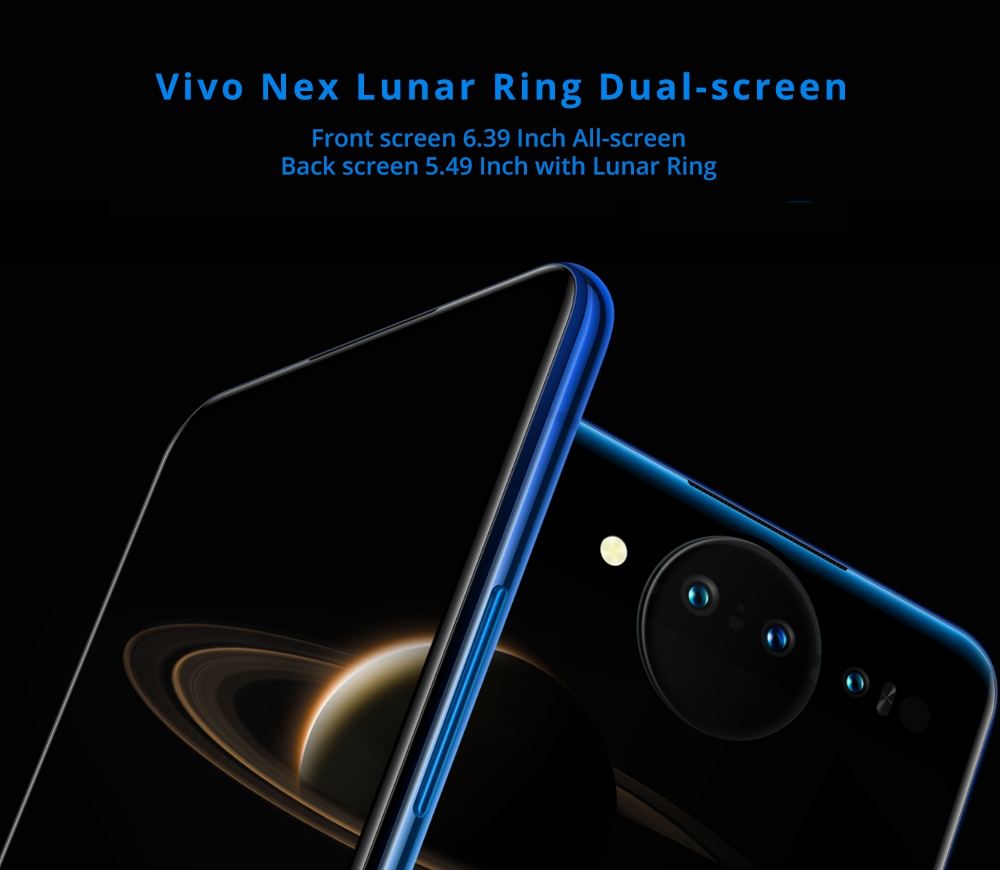 Vivo Nex Dual Display Edition 6.39 Inch 4G LTE Smartphone Snapdragon 845 10GB 128GB 12.0MP+2.0MP+TOF 3D Triple Rear Cameras Funtouch OS 4.5 Type-C In-Display Fingerprint - Purple