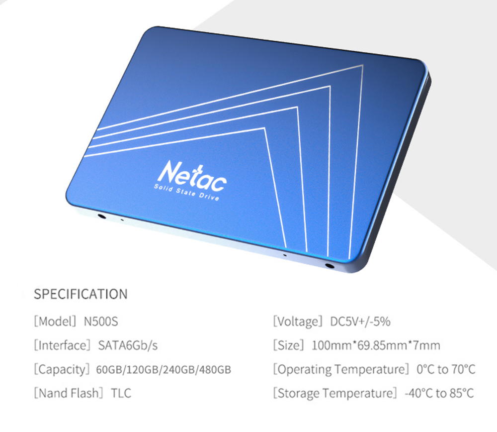 Netac N500S 240GB SATA3 SSD 2.5 Inch Solid State Drive Reading Speed 500MB/s - Blue