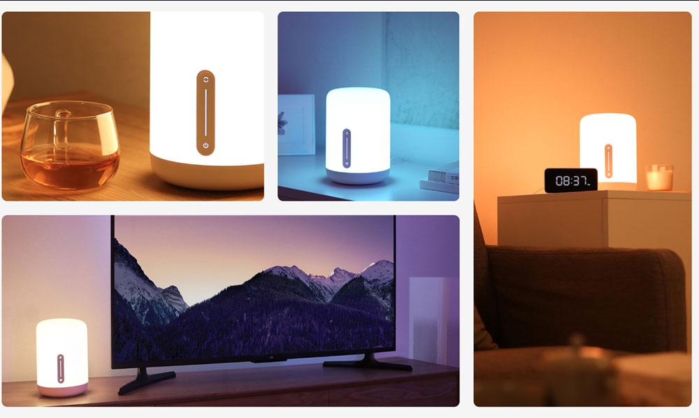 Xiaomi Mijia Lampe de chevet 2 Connexion Bluetooth WiFi Panneau tactile Le contrôle de l'application fonctionne avec Apple HomeKit Siri - Blanc