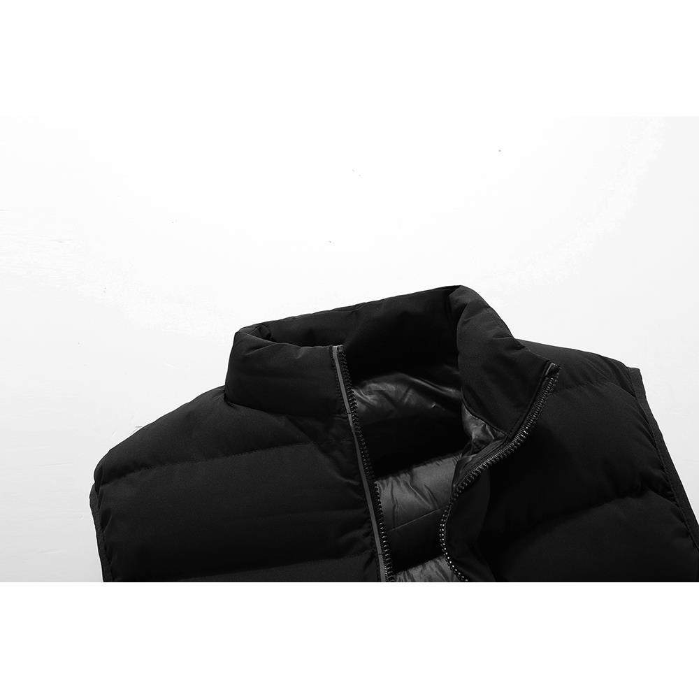 722 Férfi Téli Vastag Szilárdszínű Pamut Mellény Női ujjatlan kabát méret 3XL Fekete