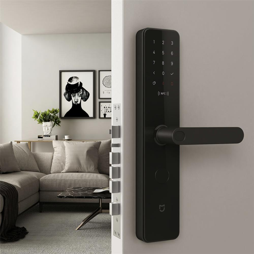 Xiaomi Smart Door Lock Fingerprint Password NFC Bluetooth Unlock Detect Alarm Suitable for Left Right Open 40-80mm Door - Black