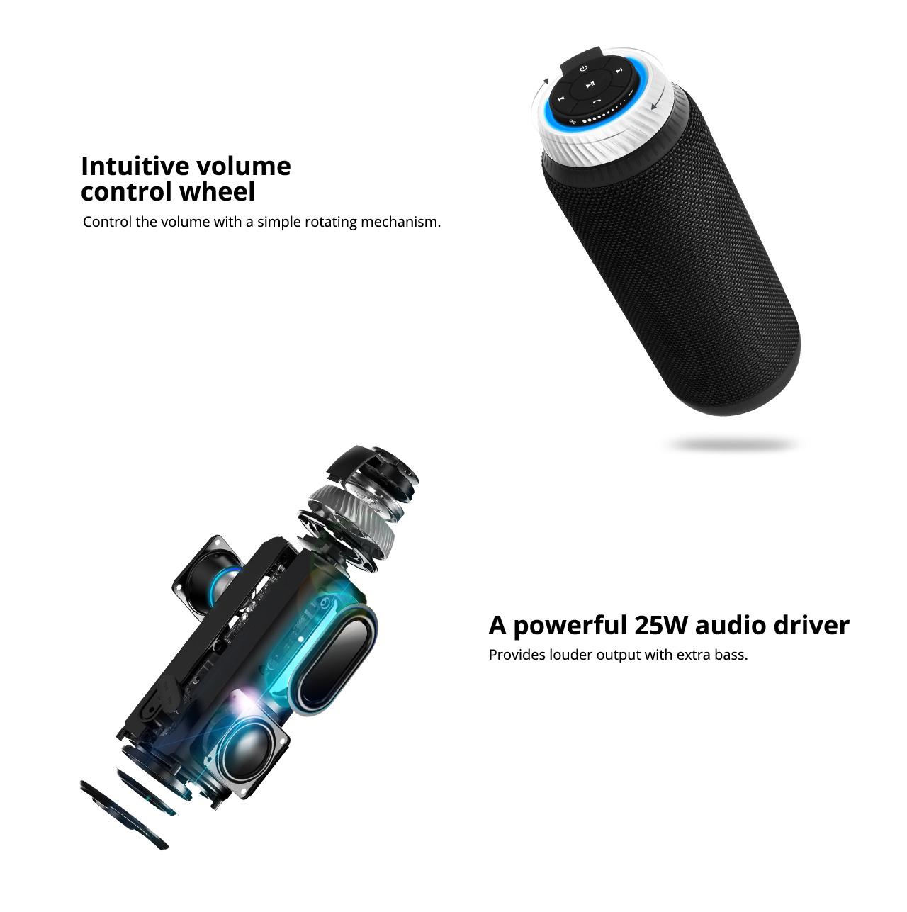 Prenosný reproduktor Bluetooth Tronsmart Element T6 25 W so stereofónnym zvukom 360 stupňov a vstavaným mikrofónom - čierny
