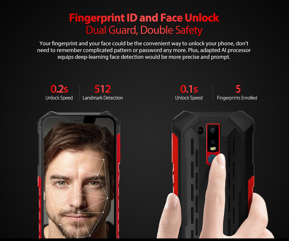 Ulefone Armor 6 6.2 Inch 4G LTE Smartphone Helio P60 6GB 128GB 21.0MP+13.0MP Dual Rear Cameras Android 8.1 IP68 NFC Wireless Charge - Red