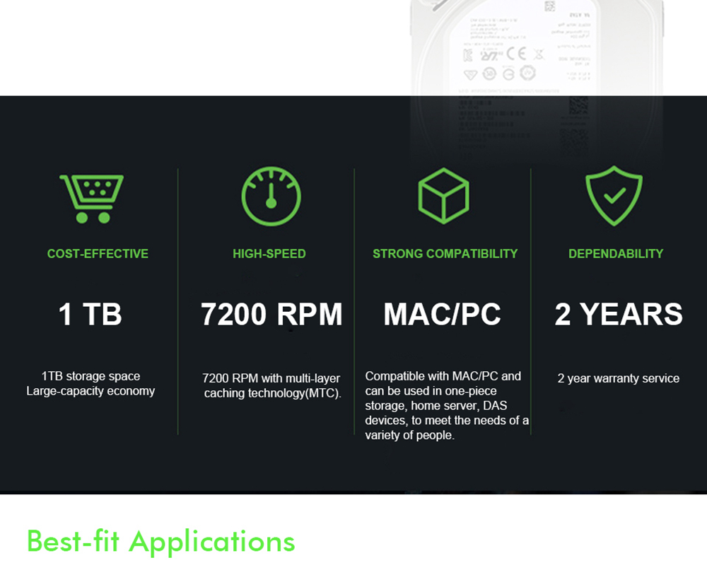 Seagate BarraCuda ST1000DM010 1TB Desktop HDD Internal Hard Drive 3.5 Inch 7200 RPM SATA 6Gb/s 64MB Cache Memory - Silve