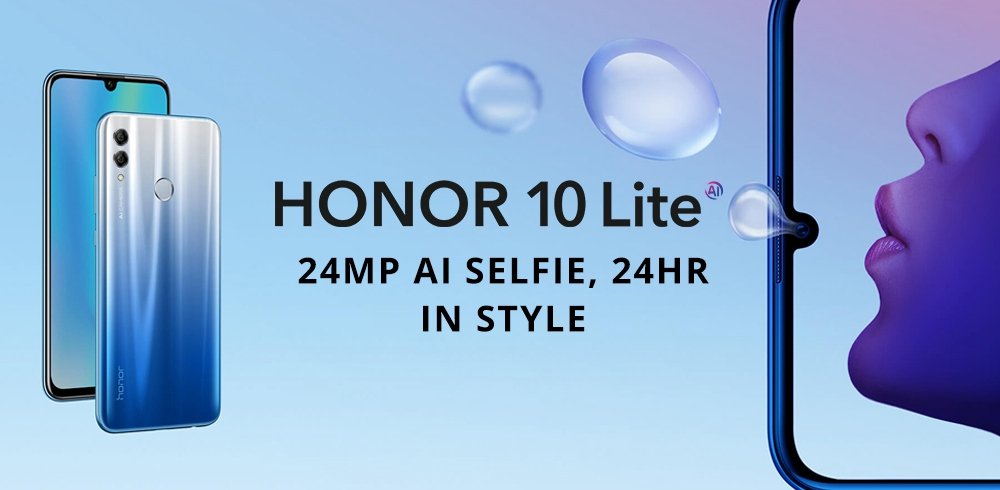 HUAWEI Honor 10 Lite 6.21 Inch 4G LTE Smartphone Kirin 710 6GB 128GB 13.0MP+2.0MP Dual Rear Cameras Android 9.0 Touch ID - Black