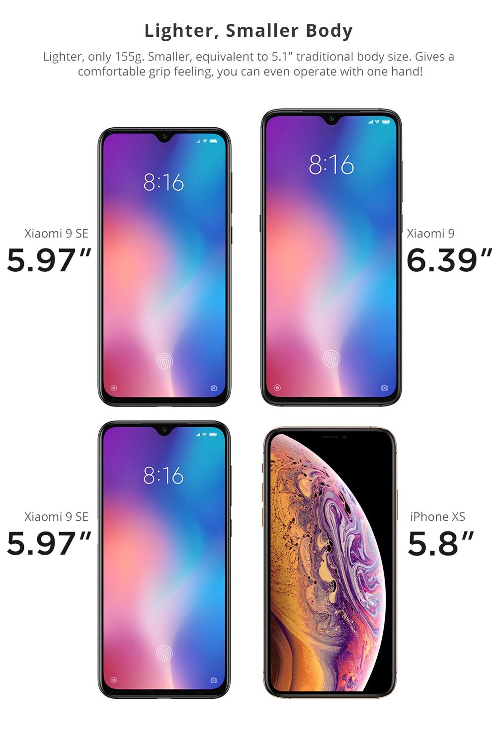 Xiaomi Mi 9 SE 5.97 Cal 4G LTE Smartphone Snapdragon 712 6GB 128GB 48.0MP + 8.0MP + 13.0MP Potrójne kamery tylne MIUI 10 In display Odcisk palca NFC